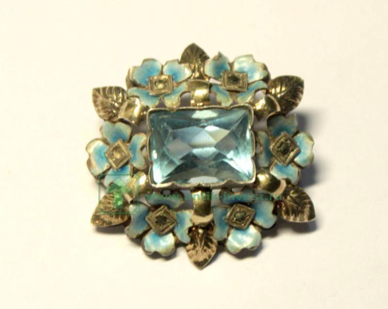 серебряная брошь с эмалью голубой камень старт 150 евро