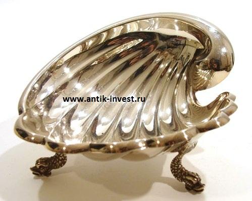 серебряная икорница вазочка вес 107 грамм