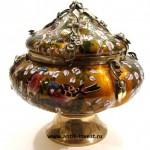 серебряная с эмалью шкатулка супница 33 на 34см