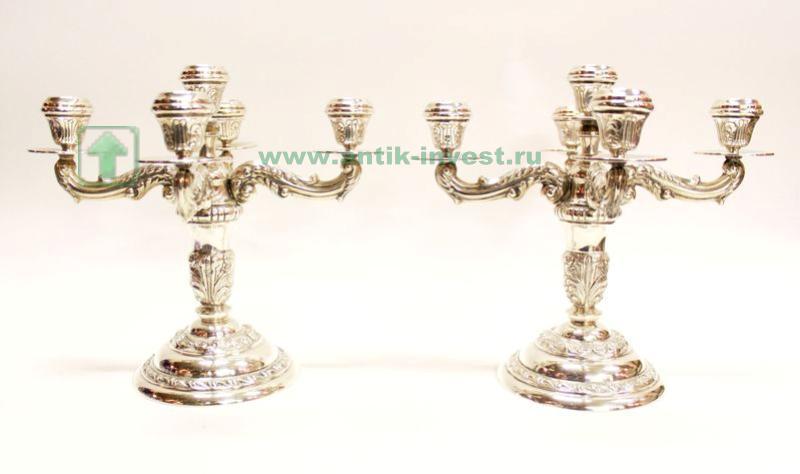 серебряные канделябры подсвечники парные на 5 свечей 28см 1кг старт 600 евро