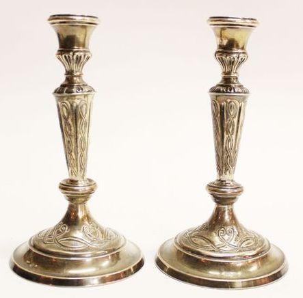 серебряные подсвечники ок 1900 г вес 680 гр 19 см