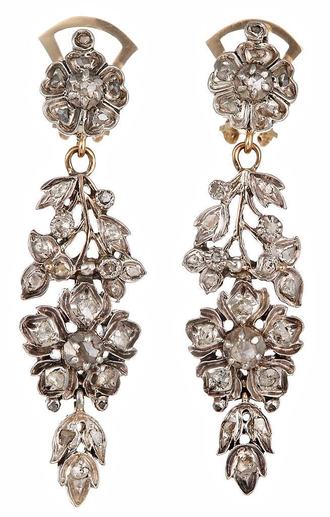 серебряные старинные серьги с бриллиантами