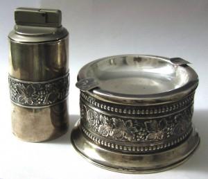 """Серебрная зажигалка и пепельница, """"Набор для курения"""", Испания, серебро"""