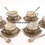 серебряный сервиз армуды чашки и блюдца интернет аукцион антиквариата