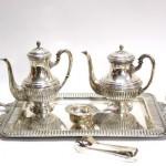 серебряный чайный кофейный сервиз чайники сахарница поднос 1990 грамм 52 на 30 см
