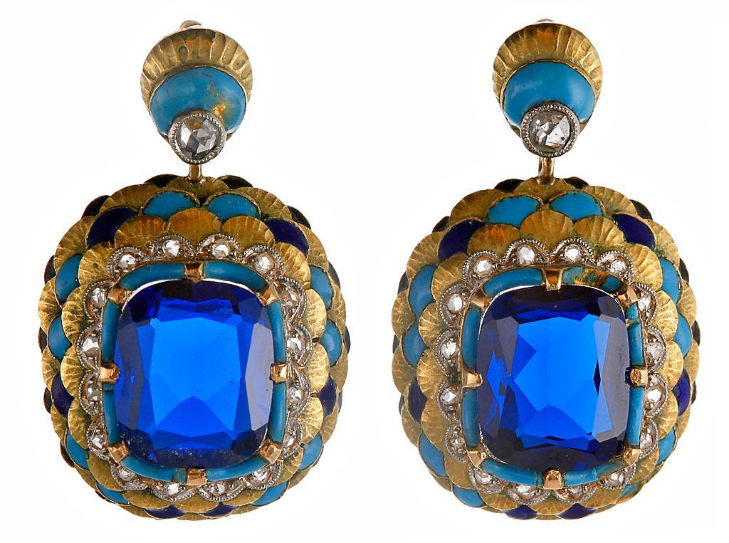 золотые серьги с эмалью платиной и бриллиантами