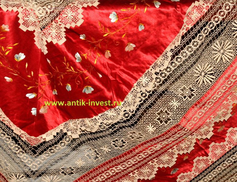 скатерть покрывало накидка старинная шелк вышивка размеры 200 на 200см