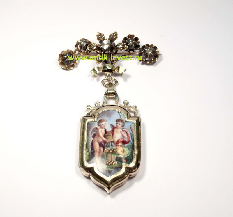 старинная брошь булавка хранительница конец 19 века золото 750 пробы эмали бриллианты