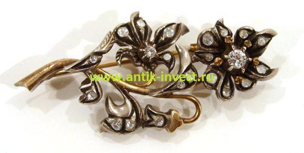 старинная золотая брошь с бриллиантами в серебре вставляют ли бриллианты в серебро