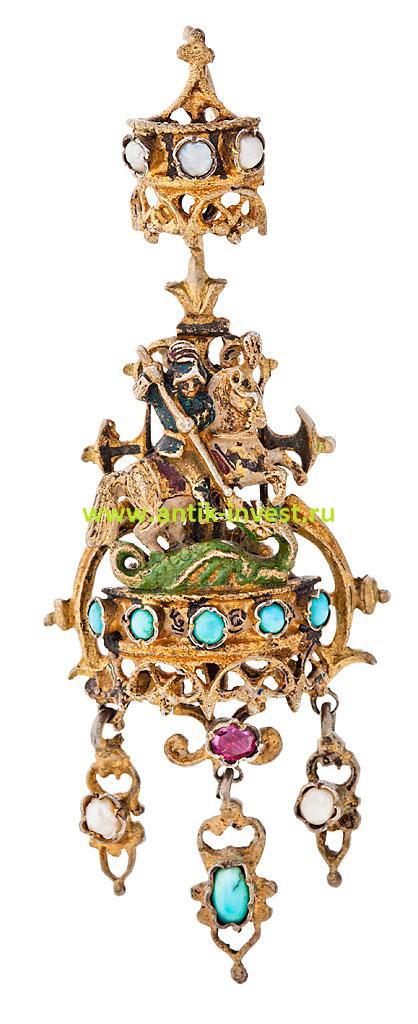 старинная золотая подвеска кулон георгий победоносец убивает змея золото