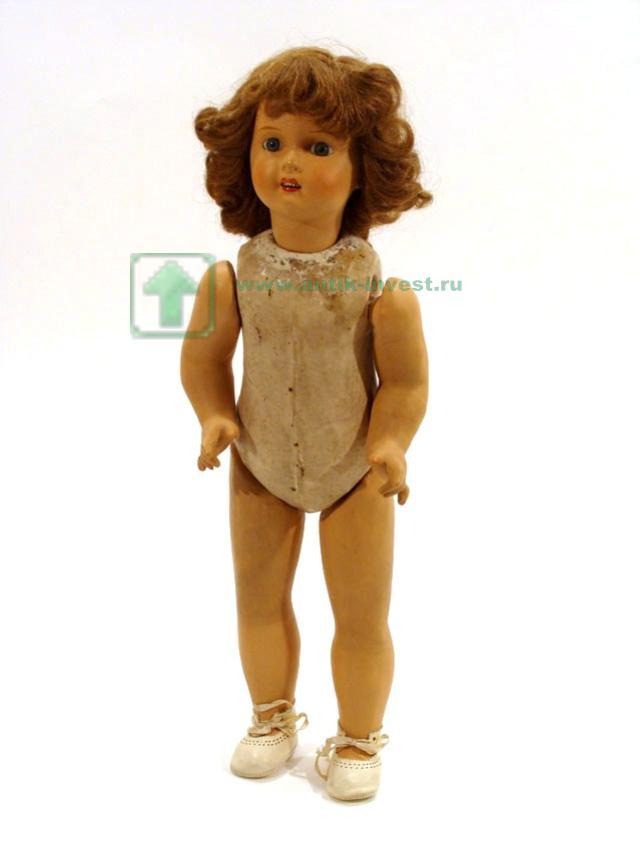 старинная куколка картон композит голова фарфор 46 см