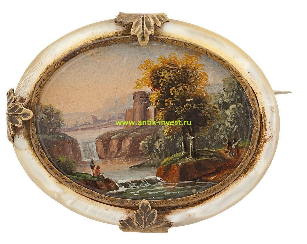 старинная латунная брошь живопись гуашью по перламутру продажа антиквариата