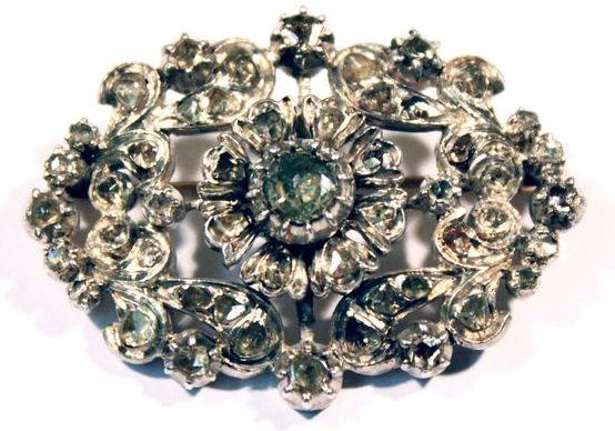 старинная серебряная брошь с алмазами 19 век