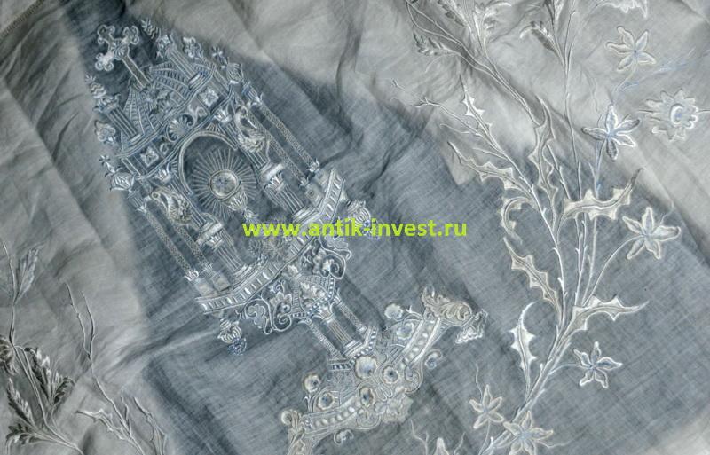 старинная скатерть с вышивкой для причащения