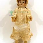 старинная французская кукла голова фарфоровая рот открыт глаза стекло корпус картон с пропиткой 67 см