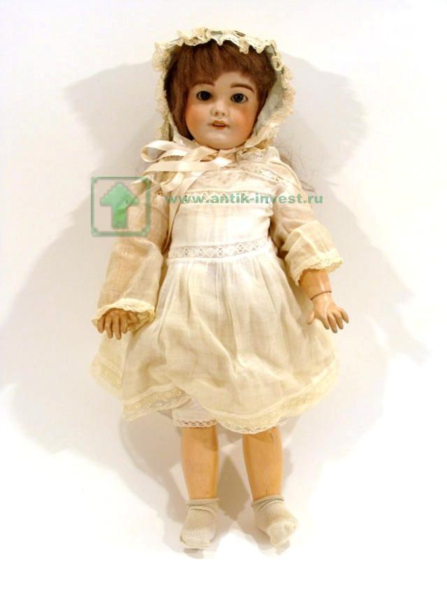 старинная французская кукла прошлого века глаза закрываются голова фарфор реставрации 48 см