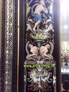 старинное зеркало в фарфоровой раме 19 век французский мастер