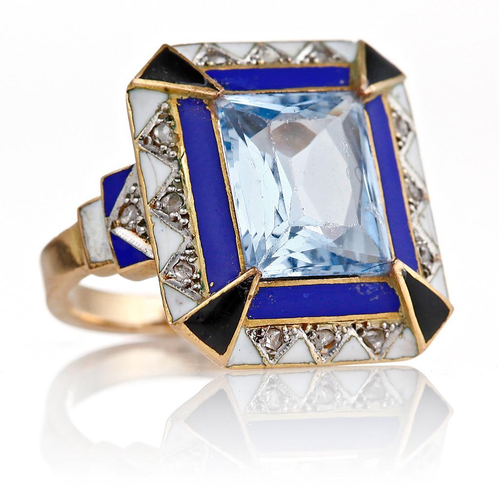 старинное золотое кольцо перстень стиль Арт-деко с эмалью платиной и бриллиантами аквамарин