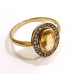 старинное кольцо Ампир с бриллиантами и цитрином малинка аукцион антиквариат торг