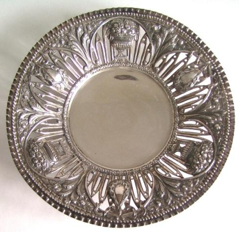 старинное серебряное большое блюдо столовое серебро