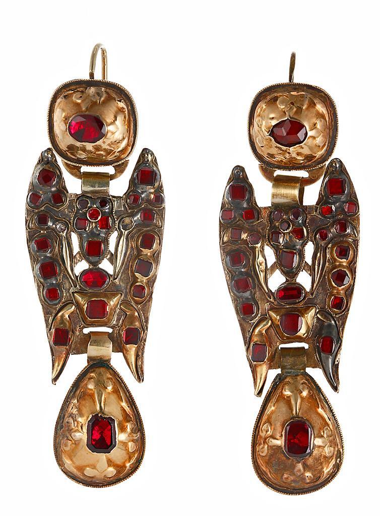 старинные золотые серьги с гранатами 18-19 век Испания