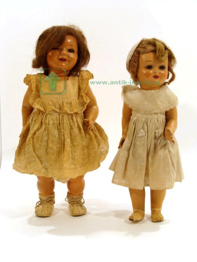 старинные испанские куклы картон пропитка глаза закрываются волосы и одежда родные 47 см 2шт