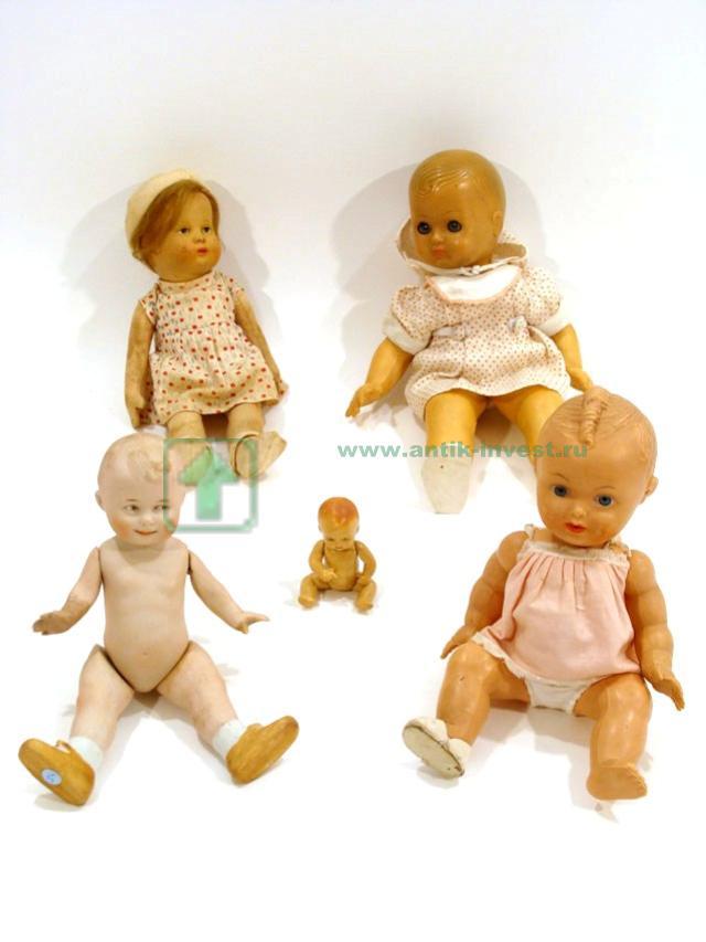 старинные куколки и пупсики лот 5шт разные материалы