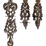 старинные серебряные серьги с бриллиантами 18-19 век