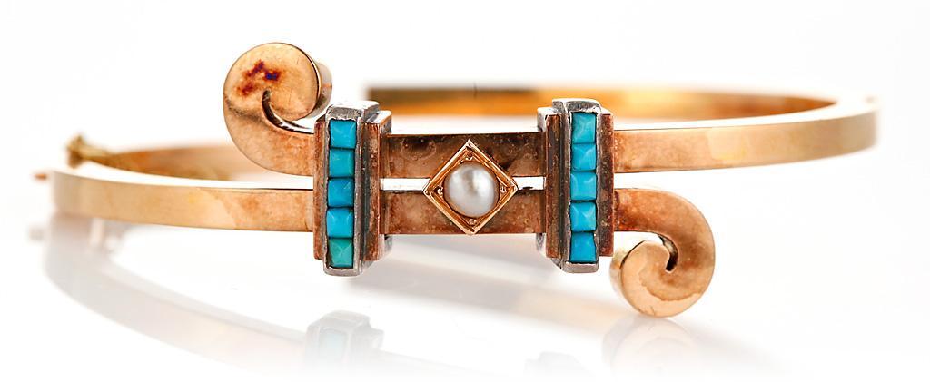 старинный золотой браслет с бирюзой