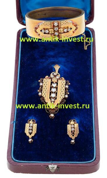 старинный золотой гарнитур браслет серьги кулон с бриллиантами
