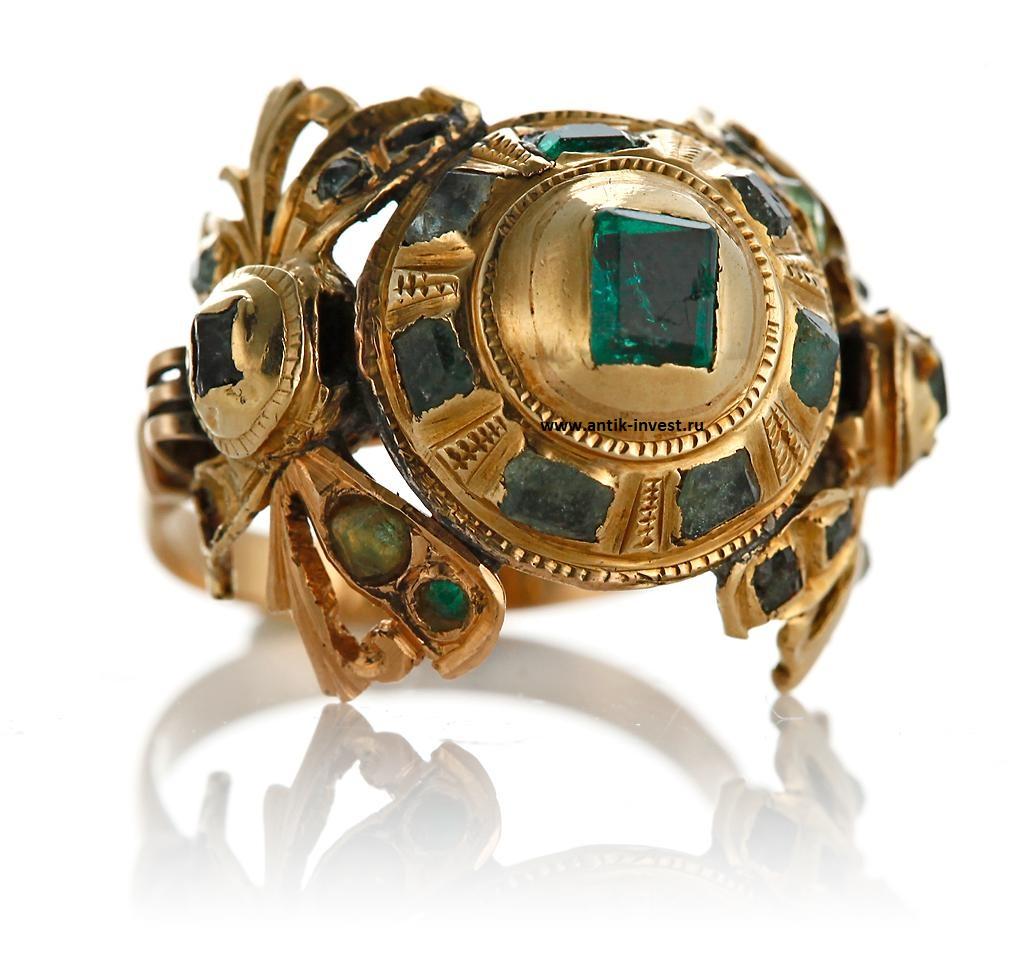 старинный золотой перстень с изумрудами 18 век