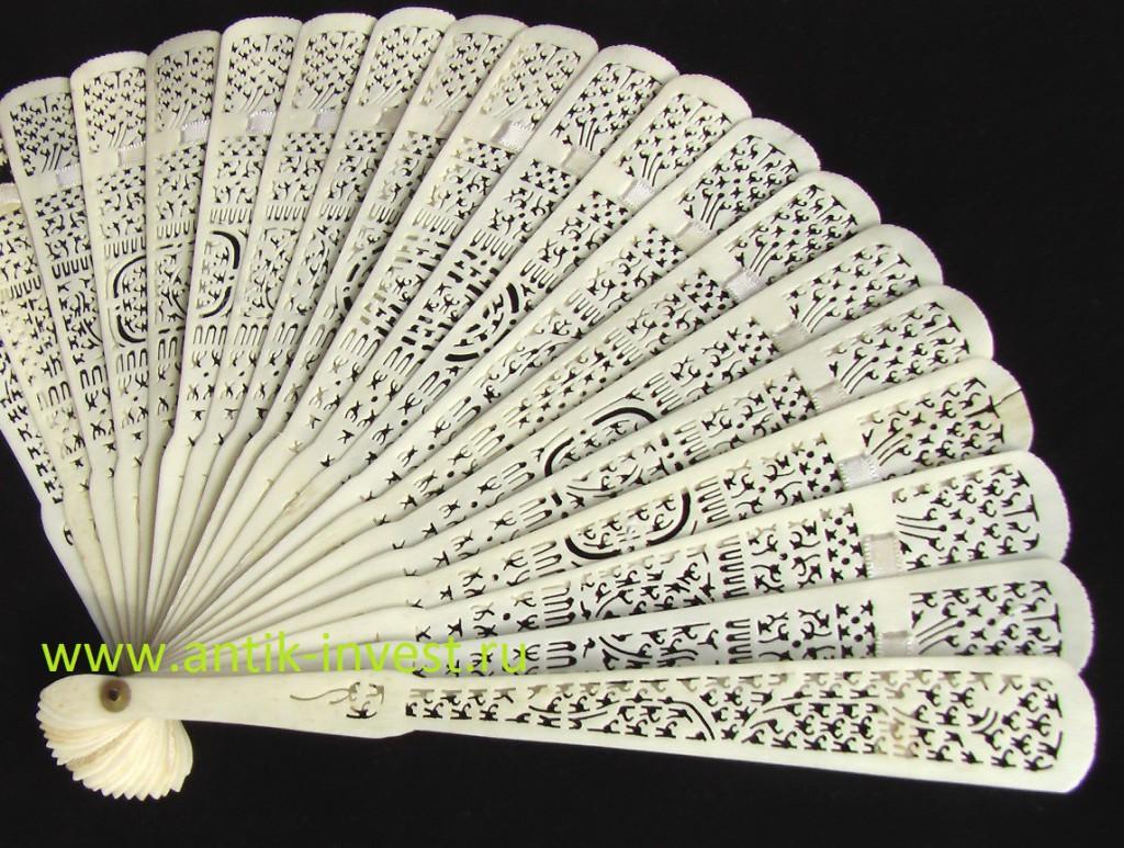 китайский старинный веер монтировки brise 1860-1890 годы