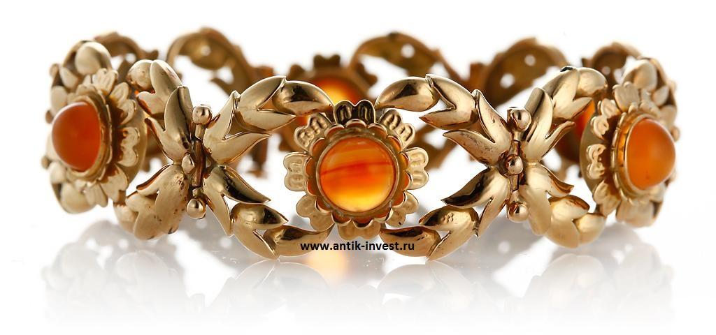 старинный французский золотой браслет с цитринами модернизм