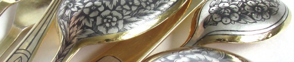 столовое серебро позолота ложки вилки чайные столовые ножи с чернью чернь