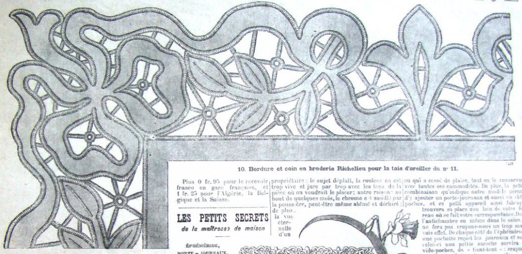 схема вставки вышивки салфетки