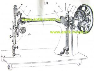 схема вал инструкция швейная машинка Зингер Singer Zinger 66 схема конструкция