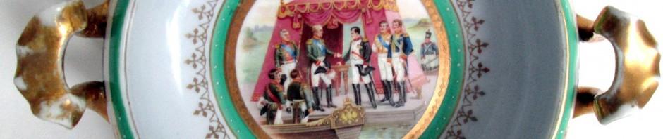 русский фарфор агитация Александр I и Наполеон свидание в Тильзите