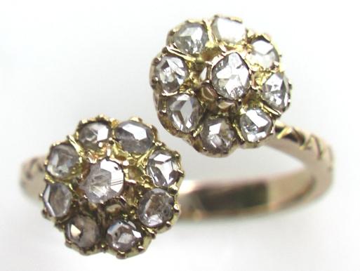 антикварное золотое кольцо для помолвки малинка с бриллиантами