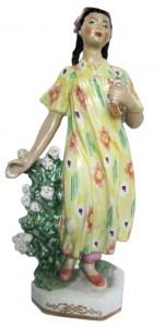 фарфоровая статуэтка узбечка дулево редкость 32 см фарфоровые статуэтки советского периода редкие