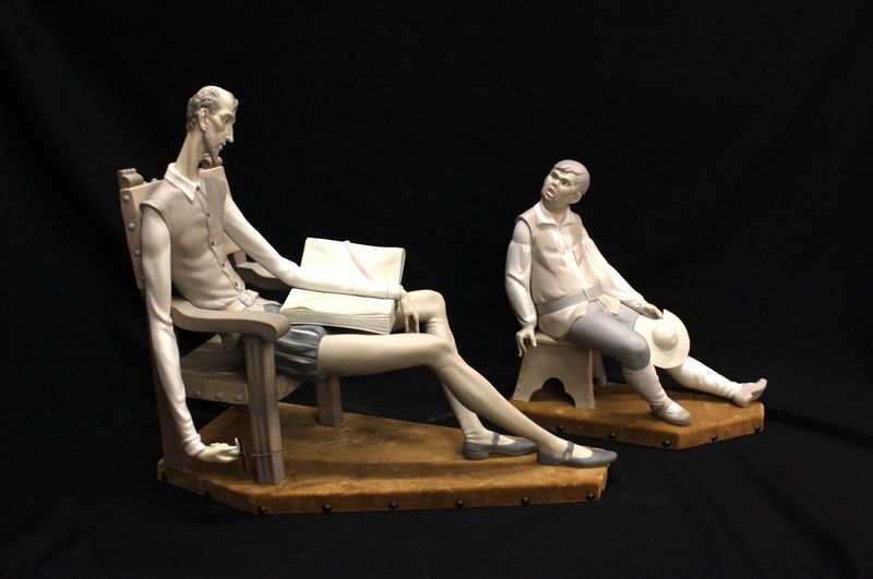 фарфоровые статуэтки Лядро LLADRO Дон Кихот и Санчо Панса 38 на 44 на 20 см старт 650 евро