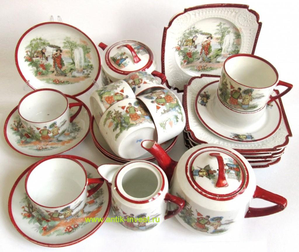 купить русский фарфор старинный сервиз чайный фарфоровый шинуазри в интерьере