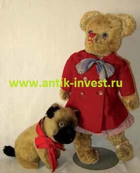 французский плюшевый медведь мишка тедди Teddy Bear кунг - фу с голубыми глазами и красным носиком высота 55 см