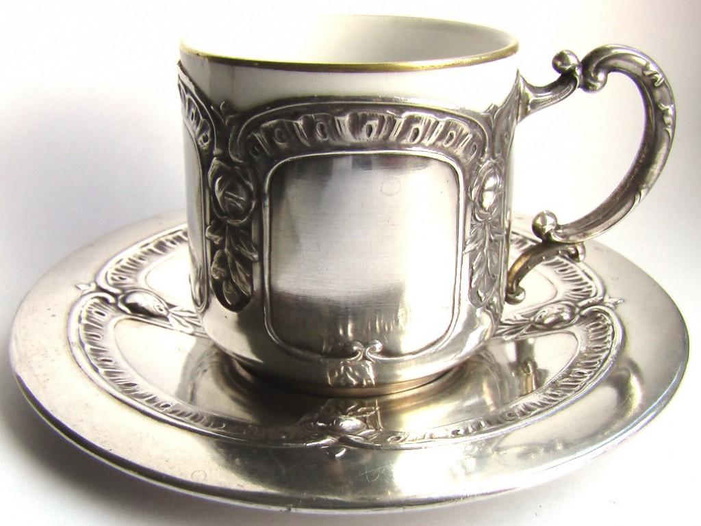 серебряный подстаканник из серебра фарфор серебро чашка блюдце