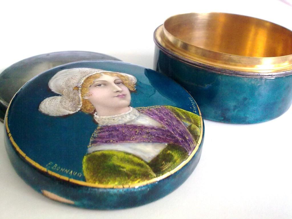 старинная ШКАТУЛКА Эмали P.Bonnaud 1906 г LIMOGES продажа антиквариата горячие эмали старинные шкатулки пудреница