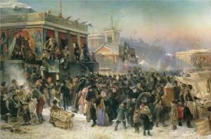 Маковский К.Е. Народное гулянье во время Масленицы на Адмиралтейской площади в Петербурге 1869