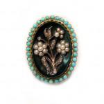 медальон подвеска кулон середина XIX века оникс, жемчуг, бриллианты, бирюза старт 550 евро