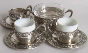 СЕРЕБРО сервиз серебряный сахарница кофейные пары