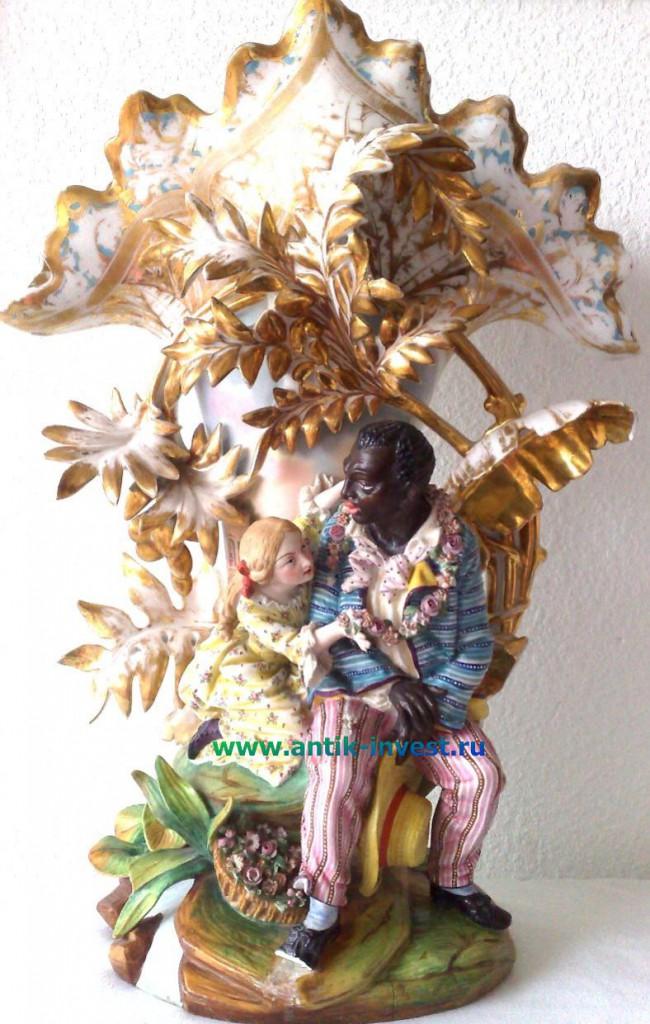 старинная фарфоровая ваза девочка и гаитянин купить напольные фарфоровые вазы
