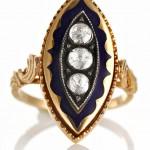 старинное золотое кольцо маркиза с эмалью и бриллиантами