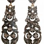 старинные серебряные серьги с бриллиантами середина 19 века